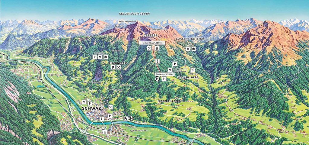 Sommerpanoramakarte Kellerjoch Tirol