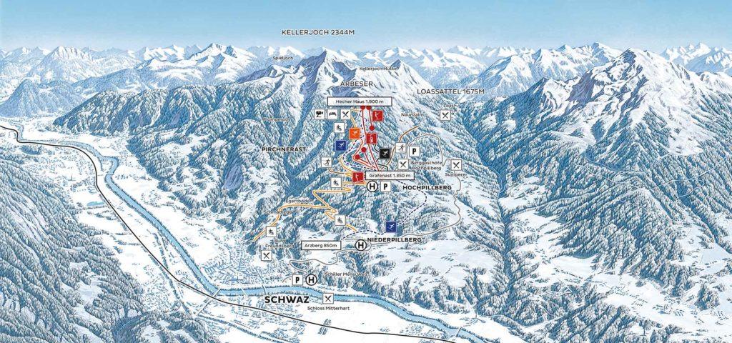 Winterpanoramakarte Kellerjoch Tirol